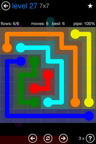 Solution and Answer to the Puzzle for Flow Bonus Pack Set 7x7 Level 27