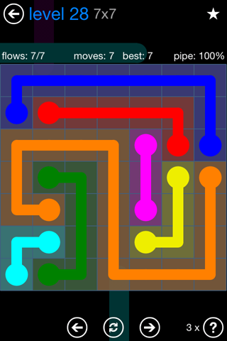 Solution and Answer to the Puzzle for Flow Bonus Pack Set 7x7 Level 28