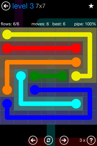 Solution and Answer to the Puzzle for Flow Bonus Pack Set 7x7 Level 3
