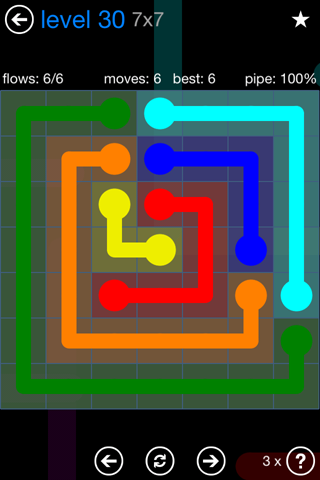 Solution and Answer to the Puzzle for Flow Bonus Pack Set 7x7 Level 30