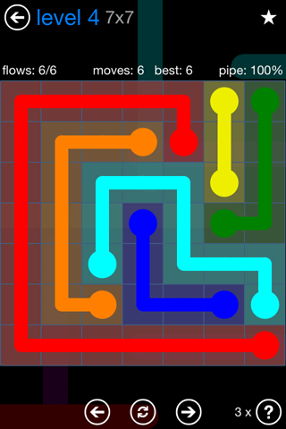 Solution and Answer to the Puzzle for Flow Bonus Pack Set 7x7 Level 4