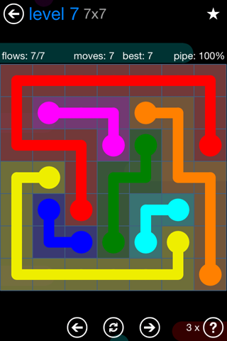 Solution and Answer to the Puzzle for Flow Bonus Pack Set 7x7 Level 7