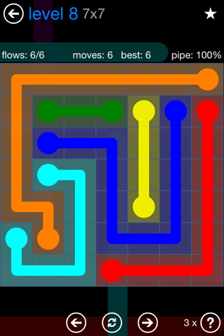 Solution and Answer to the Puzzle for Flow Bonus Pack Set 7x7 Level 8