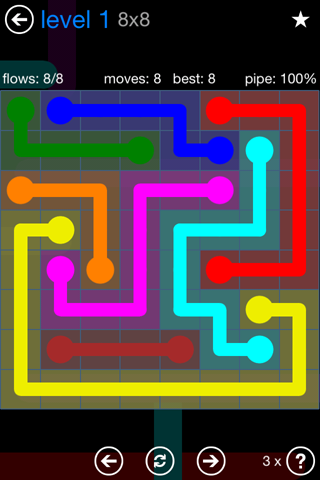 Solution and Answer to the Puzzle for Flow Bonus Pack Set 8x8 Level 1