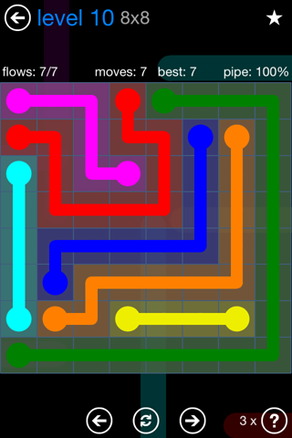 Solution and Answer to the Puzzle for Flow Bonus Pack Set 8x8 Level 10