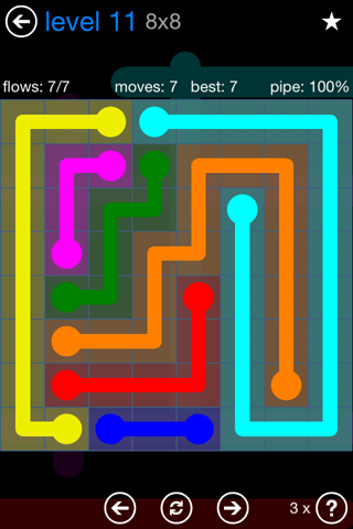 Solution and Answer to the Puzzle for Flow Bonus Pack Set 8x8 Level 11
