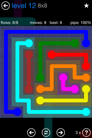 Solution and Answer to the Puzzle for Flow Bonus Pack Set 8x8 Level 12