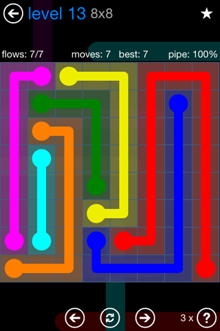 Solution and Answer to the Puzzle for Flow Bonus Pack Set 8x8 Level 13