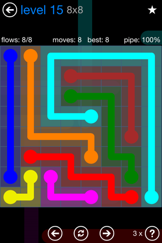 Solution and Answer to the Puzzle for Flow Bonus Pack Set 8x8 Level 15
