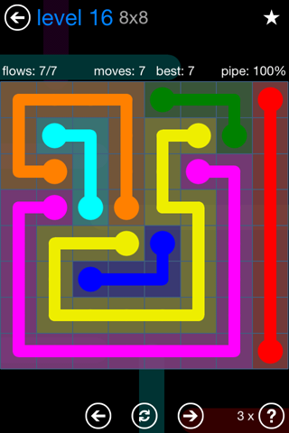 Solution and Answer to the Puzzle for Flow Bonus Pack Set 8x8 Level 16