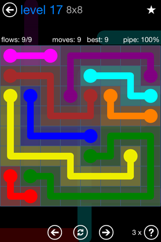 Solution and Answer to the Puzzle for Flow Bonus Pack Set 8x8 Level 17