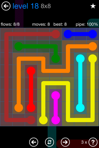 Solution and Answer to the Puzzle for Flow Bonus Pack Set 8x8 Level 18