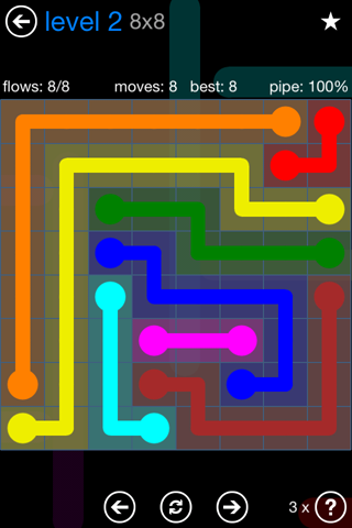 Solution and Answer to the Puzzle for Flow Bonus Pack Set 8x8 Level 2