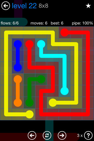 Solution and Answer to the Puzzle for Flow Bonus Pack Set 8x8 Level 22