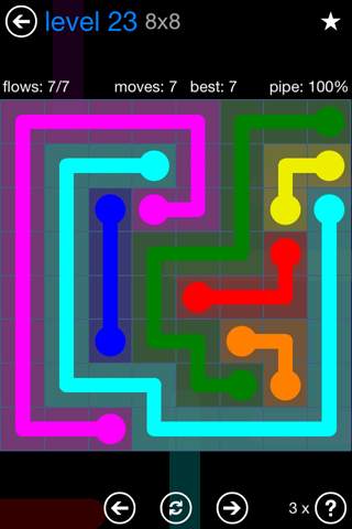 Solution and Answer to the Puzzle for Flow Bonus Pack Set 8x8 Level 23