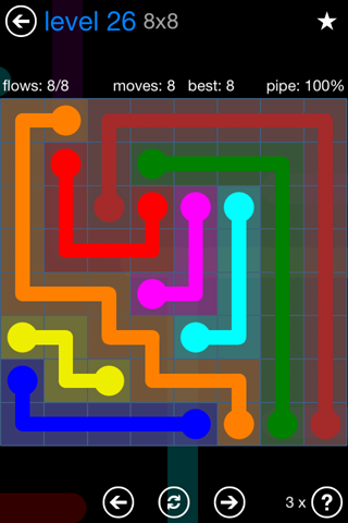 Solution and Answer to the Puzzle for Flow Bonus Pack Set 8x8 Level 26