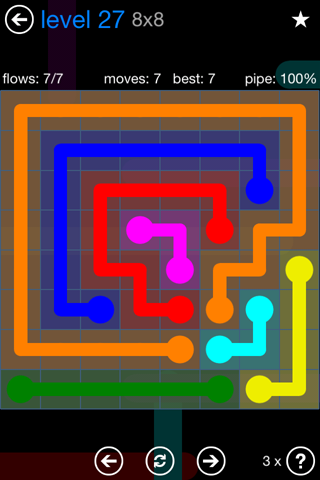 Solution and Answer to the Puzzle for Flow Bonus Pack Set 8x8 Level 27