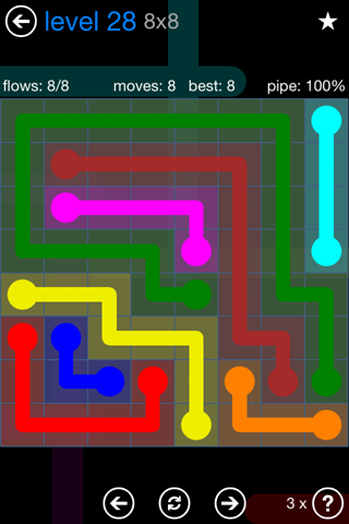 Solution and Answer to the Puzzle for Flow Bonus Pack Set 8x8 Level 28