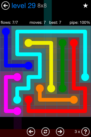 Solution and Answer to the Puzzle for Flow Bonus Pack Set 8x8 Level 29