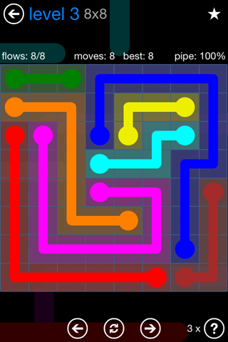 Solution and Answer to the Puzzle for Flow Bonus Pack Set 8x8 Level 3