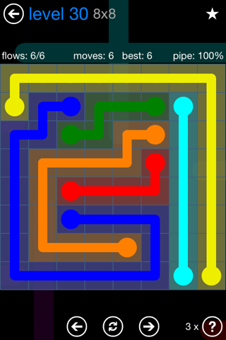 Solution and Answer to the Puzzle for Flow Bonus Pack Set 8x8 Level 30