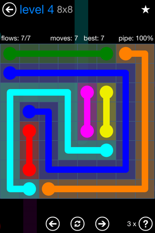 Solution and Answer to the Puzzle for Flow Bonus Pack Set 8x8 Level 4