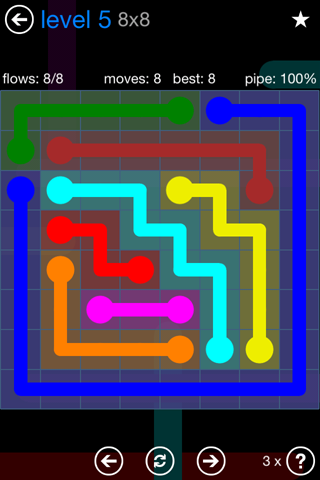 Solution and Answer to the Puzzle for Flow Bonus Pack Set 8x8 Level 5