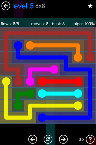Solution and Answer to the Puzzle for Flow Bonus Pack Set 8x8 Level 6