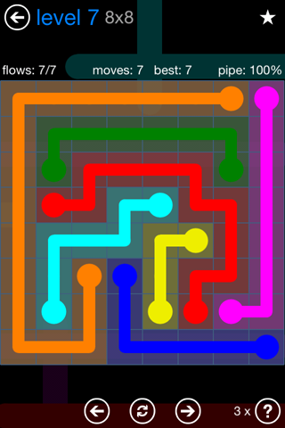 Solution and Answer to the Puzzle for Flow Bonus Pack Set 8x8 Level 7