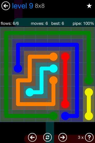 Solution and Answer to the Puzzle for Flow Bonus Pack Set 8x8 Level 9