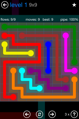 Solution and Answer to the Puzzle for Flow Bonus Pack Set 9x9 Level 1