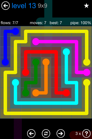 Solution and Answer to the Puzzle for Flow Bonus Pack Set 9x9 Level 13
