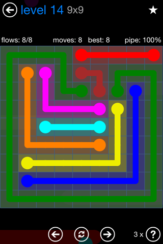Solution and Answer to the Puzzle for Flow Bonus Pack Set 9x9 Level 14