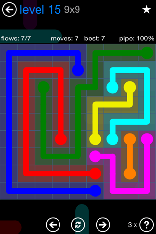 Solution and Answer to the Puzzle for Flow Bonus Pack Set 9x9 Level 15