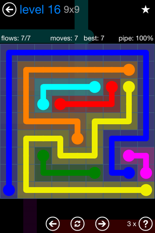 Solution and Answer to the Puzzle for Flow Bonus Pack Set 9x9 Level 16