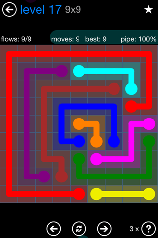 Solution and Answer to the Puzzle for Flow Bonus Pack Set 9x9 Level 17