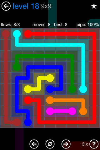 Solution and Answer to the Puzzle for Flow Bonus Pack Set 9x9 Level 18