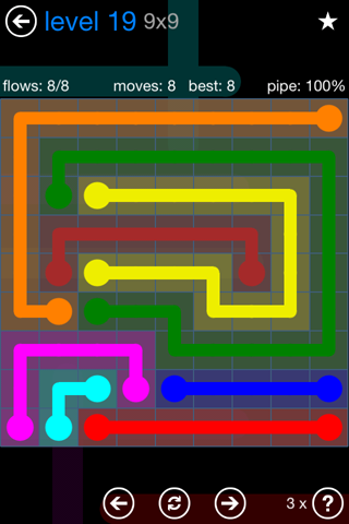 Solution and Answer to the Puzzle for Flow Bonus Pack Set 9x9 Level 19
