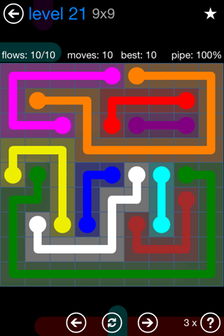 Solution and Answer to the Puzzle for Flow Bonus Pack Set 9x9 Level 21