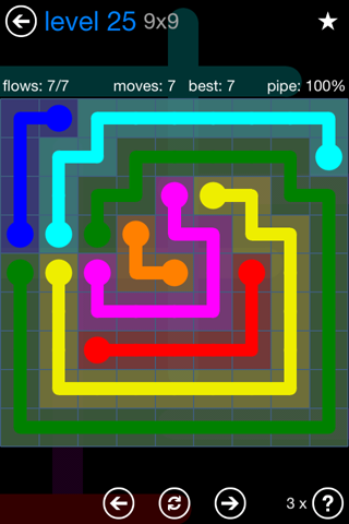 Solution and Answer to the Puzzle for Flow Bonus Pack Set 9x9 Level 25