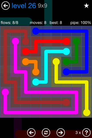 Solution and Answer to the Puzzle for Flow Bonus Pack Set 9x9 Level 26