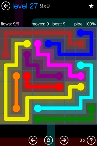 Solution and Answer to the Puzzle for Flow Bonus Pack Set 9x9 Level 27