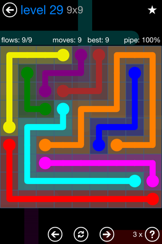 Solution and Answer to the Puzzle for Flow Bonus Pack Set 9x9 Level 29