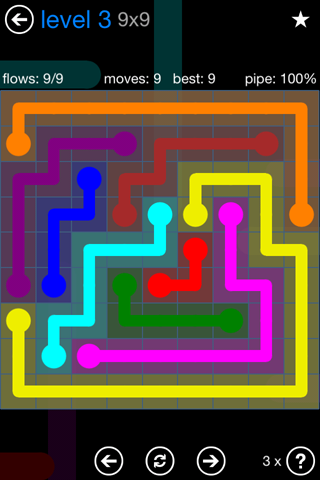 Solution and Answer to the Puzzle for Flow Bonus Pack Set 9x9 Level 3