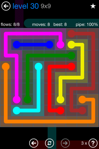 Solution and Answer to the Puzzle for Flow Bonus Pack Set 9x9 Level 30