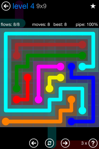 Solution and Answer to the Puzzle for Flow Bonus Pack Set 9x9 Level 4