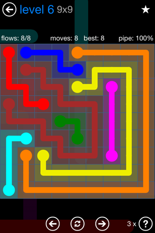 Solution and Answer to the Puzzle for Flow Bonus Pack Set 9x9 Level 6