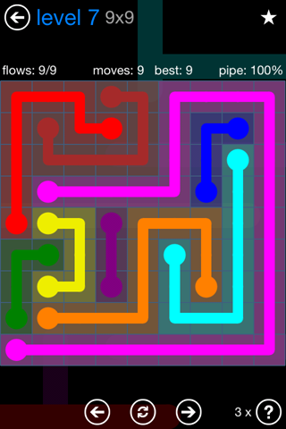 Solution and Answer to the Puzzle for Flow Bonus Pack Set 9x9 Level 7