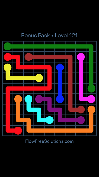 Solution and Answer to the Puzzle for Flow Free Bonus Pack Level 1