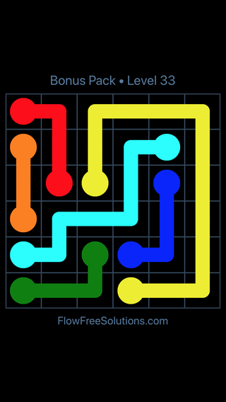 Solution and Answer to the Puzzle for Flow Free Bonus Pack Level 3